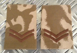 Genuine British Army Desert Camouflage CORPORAL Rank Slides / Epaulettes - NEW