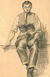 S. Barnes Robson (1900-1973) - Charcoal Drawing, Study of a Gentleman