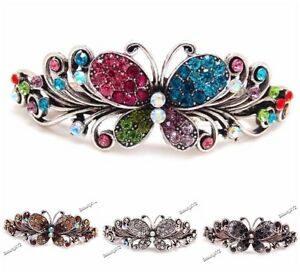 New-2019-Fashion-Crystal-Silver-Tone-Metal-Butterfly-hair-claws-clips-Barrette