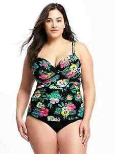 cd418ae23b0 Old Navy Women s Black Floral Front Wrap Tankini   High Rise Bottom ...