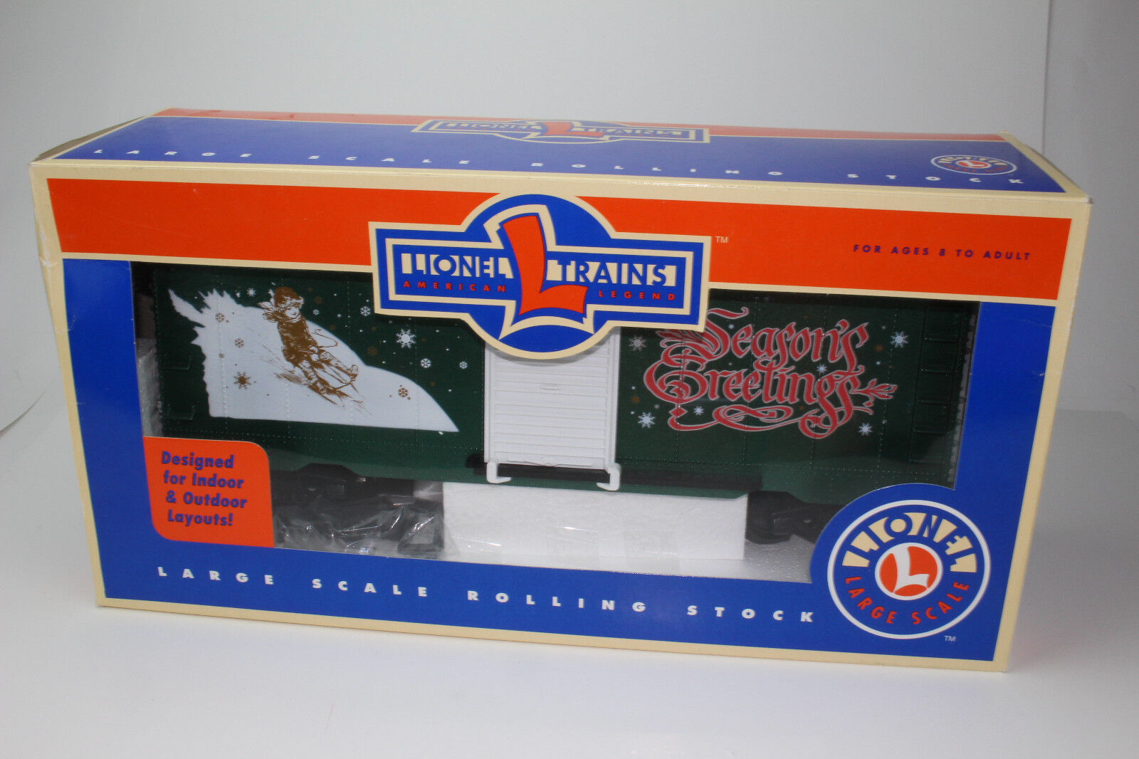 LIONEL G SCALE CHRISTMAS BOX CAR, SEASONS GREETINGS, NEW, BOXED