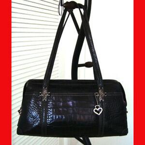 Brighton-Ana-Rosa-Croc-Embossed-Leather-Tote-Bag-Black
