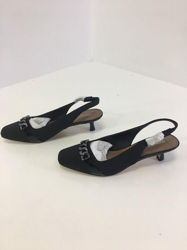 DONALD J. PLINER WOMEN'S CHAIN LINK SLING BACK PUMP FLAT BLACK SIZE 9 NEW