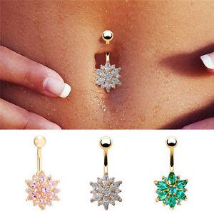 Belly-Button-Rings-Crystal-Rhinestone-Flower-Jewelry-Navel-Bar-Body-Piercing