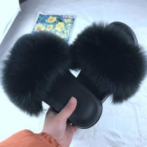 Damen Sandalen Hausschuhe Plüsch Schlappen Einfach Fluffy Slippers Badelatschen