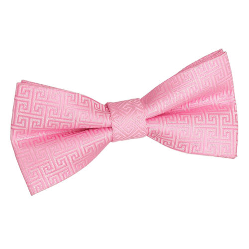 DQT Woven Greek Key Patterned Baby Pink Classic Mens Pre-Tied Bow Tie