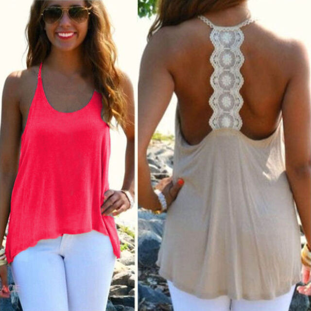 Women Summer Sexy Sleeveless Casual Loose Halter Tank Tops Vest Shirt Blouses