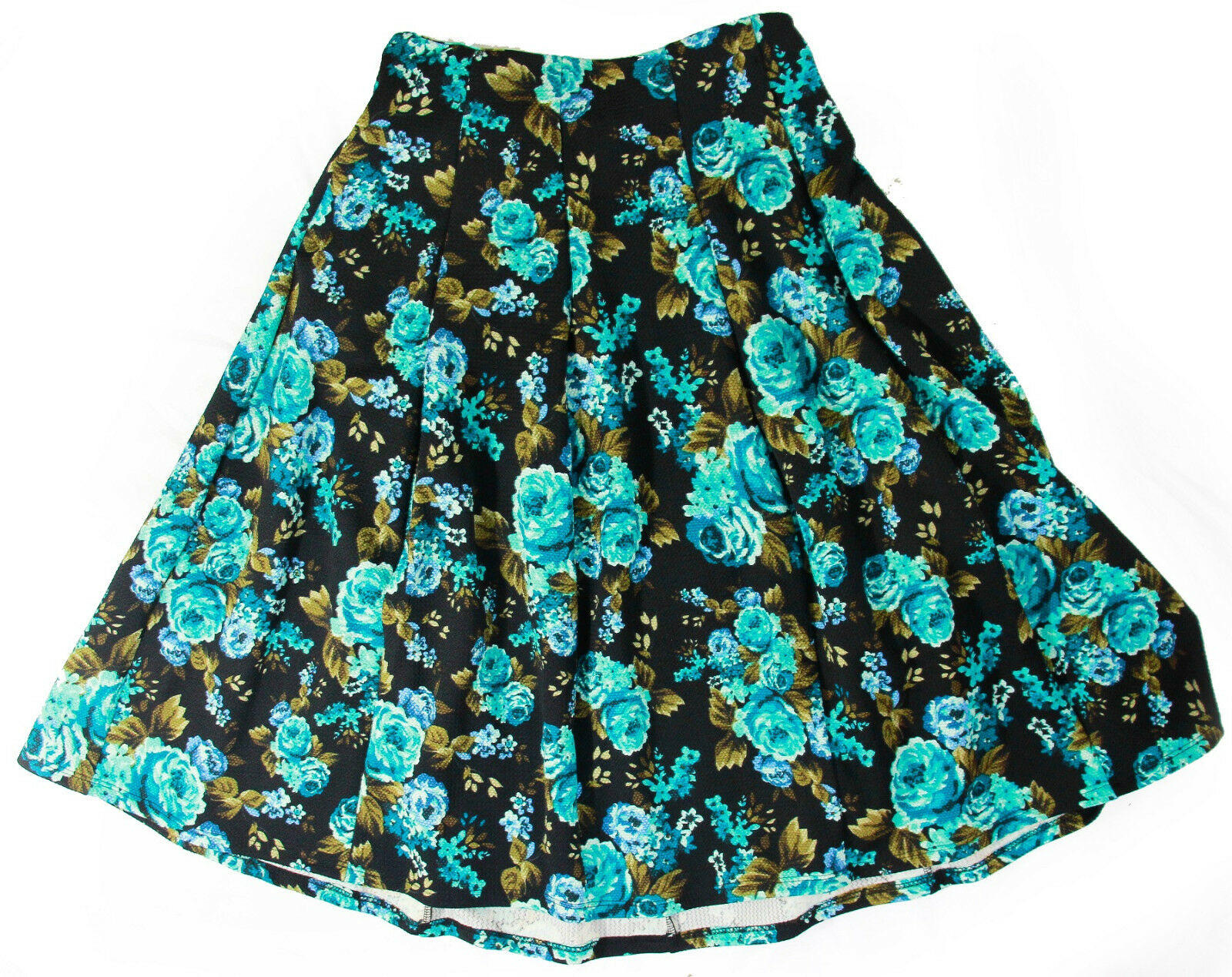 Cali Company Women Fun in Floral Skirt S bluee Knee Length