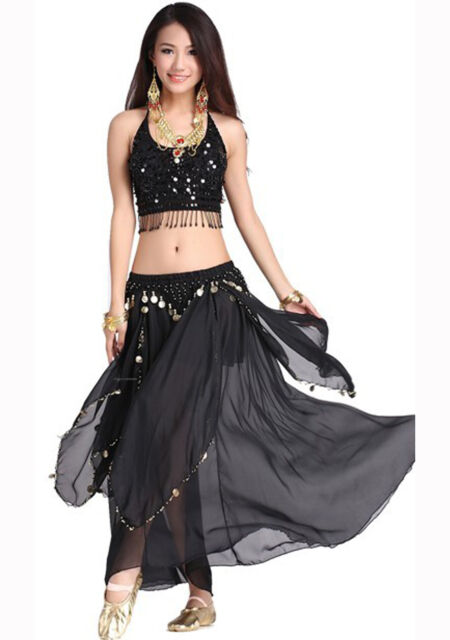belly dance Costume 2 pics costume top& Skirt 9 colour
