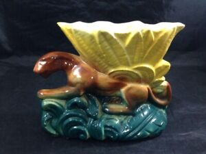 Vintage-McCoy-Pottery-Panther-Flower-Vase-Ceramic-Lion-Yellow-Flower-Planter