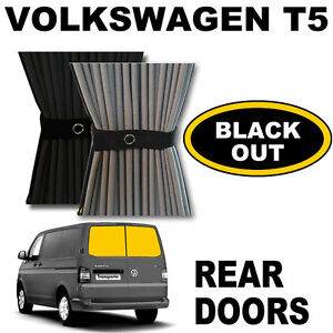BLACK-OUT-VW-T5-Curtain-Kit-Rear-Doors-VWT5-Campervan-Curtains