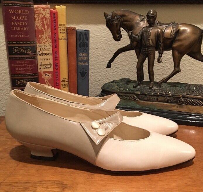 PERRY ELLIS Vintage Cream Tan läder Button Viktorianska Mary Janes Janes Janes 7M Italien NWT  butikshantering