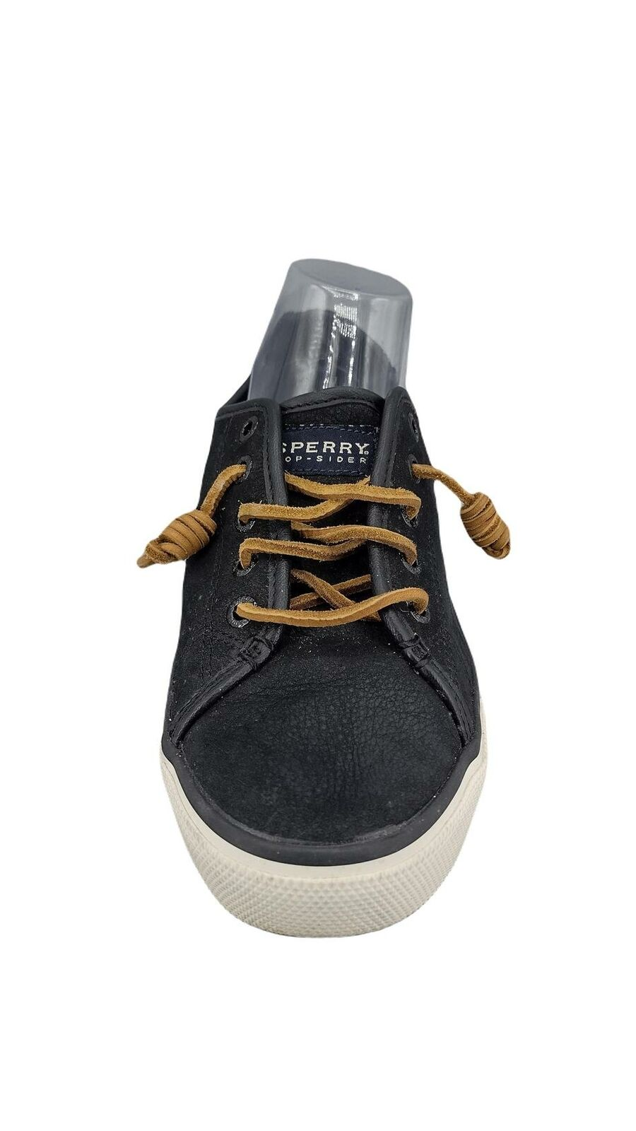 Sperry Women's Seacoast Fashion Sneaker,Black Leather, Rawhide Laces, 9.5 M US