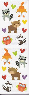 Mrs. Grossman's Stickers - Forest Pal Babies - Raccoon, Owl, Bear, Fox -4 Strips