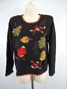 Ladies-Fall-Leaf-Embroidered-Sweater-Victoria-Harbour-Used-PM-LT042