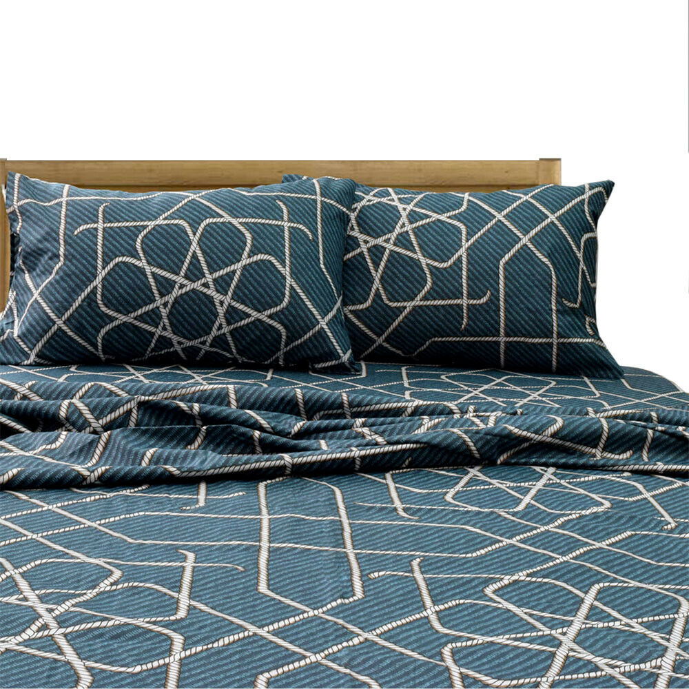 Essina Cotton 620 Thread Count Twin   Queen   King Bed Sheet Set, Eclipse blueeeee