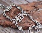 "Vintage AB Rhinestone Link Bracelet Jewellery Bridal Jewelry 60s 70s 1.5"" Wide!!"