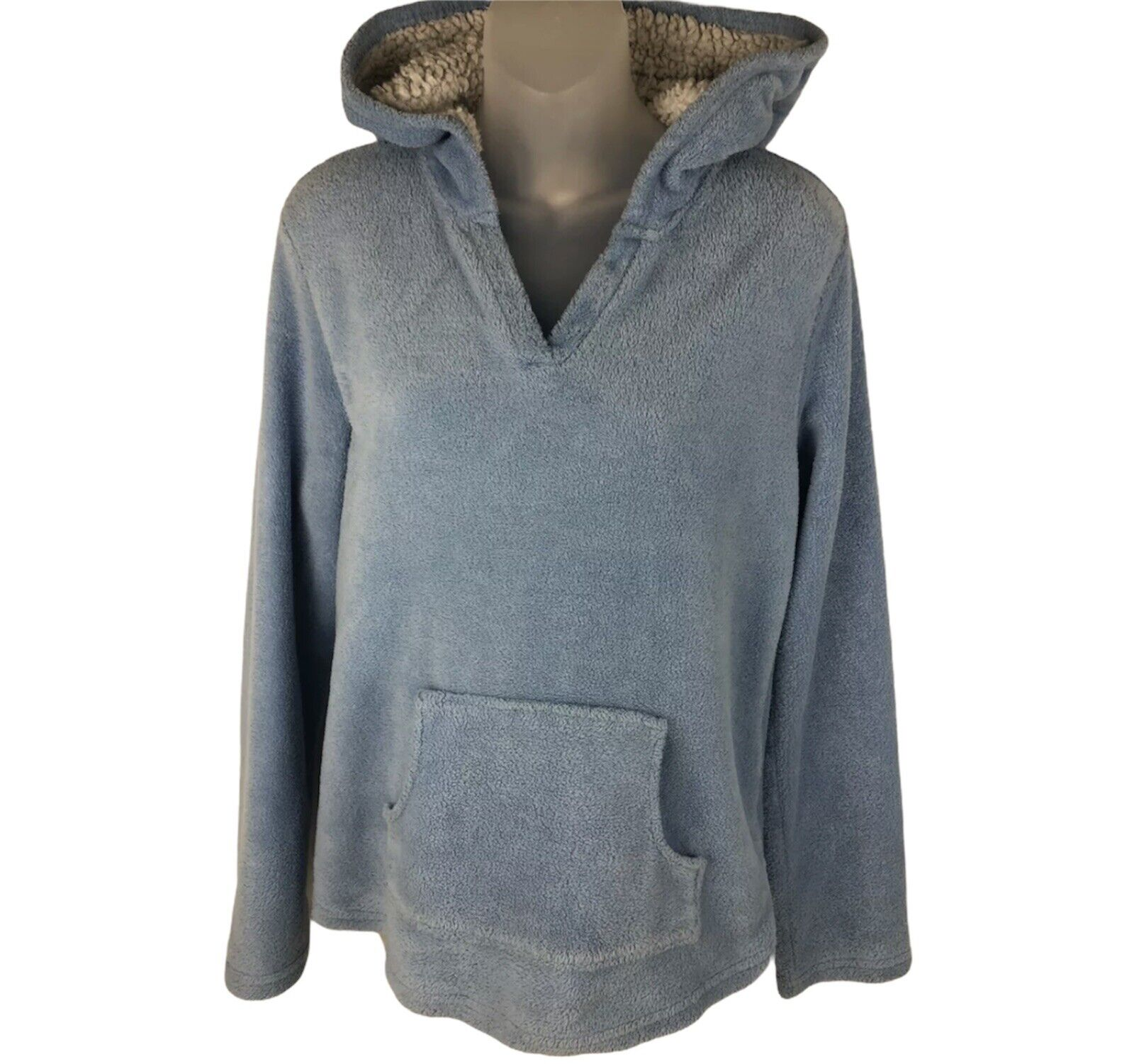 PJ COUTURE Womens Pullover Hoodie Kangaroo Pocket LIGHT BLUE Size L