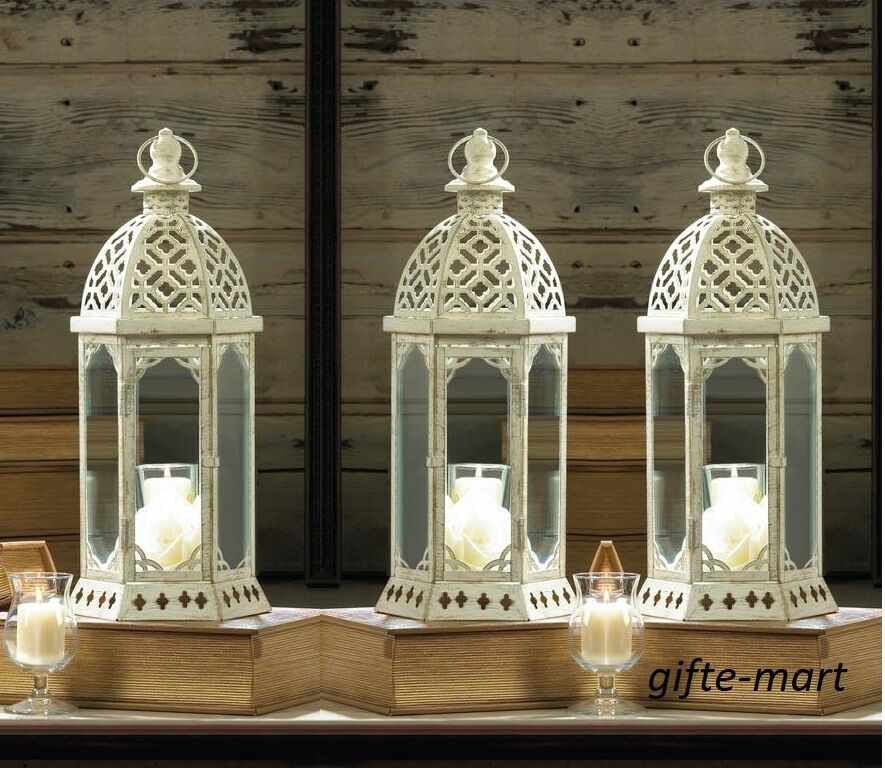 10 White 16  tall distressed whitewashed mgoldccan Candle holder wedding Lantern