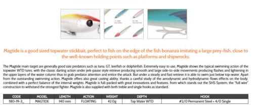 Rapture Magtide wtd 42g floating stick bait excellent for Bass Tuna Jacks Pike