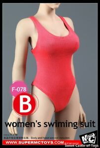 1-6-SuperMCToys-Accessory-Female-Red-Women-039-s-Swimming-Suit-F-078B-For-Phicen