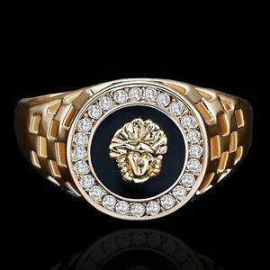 717e7a06bc Details about Men's Gold Plated Medusa Onyx Signet Ring Size 8,9,10,11,12  Wedding Ring Jewelry