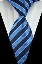 GIFTS FOR MEN Mens Classic Double Stripe Check Silk Necktie Work Tie Navy Blue