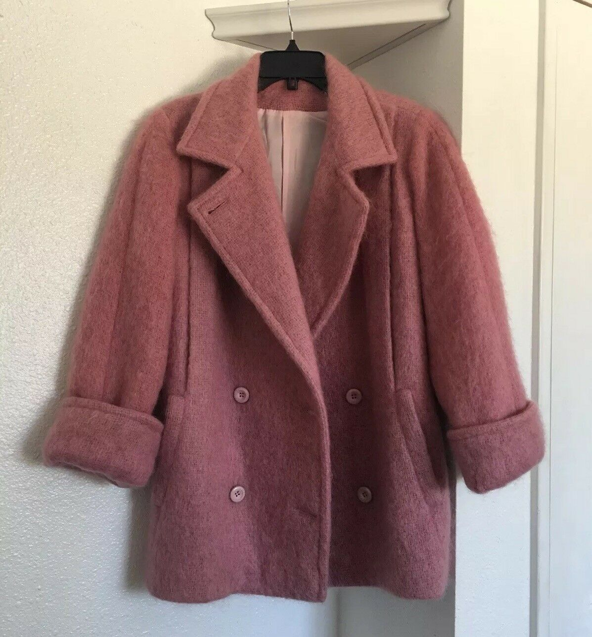 Nordic Norway Snow Soft Wool Tweed Pink pink Doublebreast Trench Coat  PeaCoat