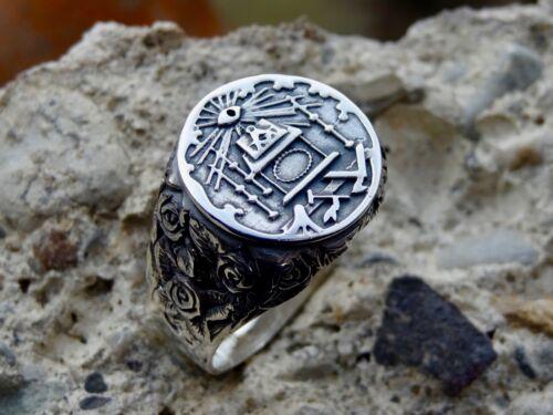 New Sterling Silver Masonic Ring Lodge Accent Freemason Masonry Handmade All Sz