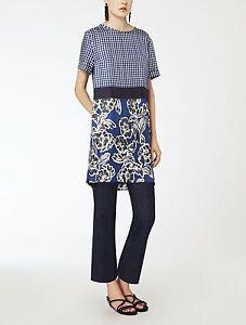 SALE-725-S-034-Max-Mara-Adatti-Mix-Print-Silk-Twill-Dress-US-46810-Elegant-2016