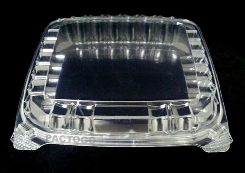 """Dart 8/"""" x 8/"""" Medium Shallow Clear Hinged Plastic Food Bakery Take-Out Container"""