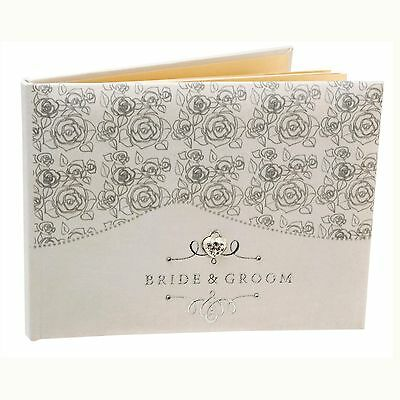 "Rose Design ""Bride and Groom"" Wedding Day Guest Book WG383"
