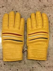 Vintage-Fairfield-Hanover-Cowhide-Mustard-Leather-Gloves-Snowmobile-Racer-Small