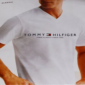 6626ad4f3 Tommy Hilfiger Mens 3 Pack White Undershirts Classic V-Neck T-Shirt ...