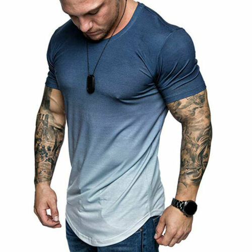 Mens Boys Summer Slim Fit Casual Short Sleeve Tops Muscle Gym Tee T-shirt Blouse