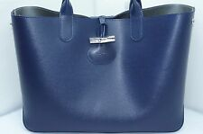 Longchamp Roseau Reversible Shoulder Tote Blue Bag Silver Handbag Leather NWT