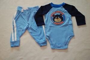Baby-Boys-L-S-BLUE-amp-NAVY-SHIRT-Bodysuit-CUTE-RASCAL-BEAR-Knit-Pants-12-MO