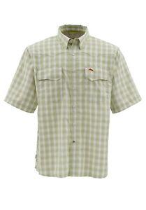 Simms-BIG-SKY-Short-Sleeve-Shirt-Citron-Plaid-NEW-Size-XL-CLOSEOUT