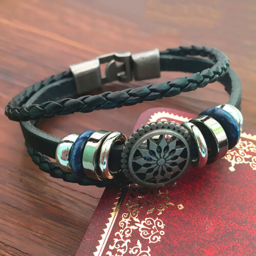 Fashion PU Vintage Infinity Charm Wrap Men Women Bracelet Bangle Punk Style v ob