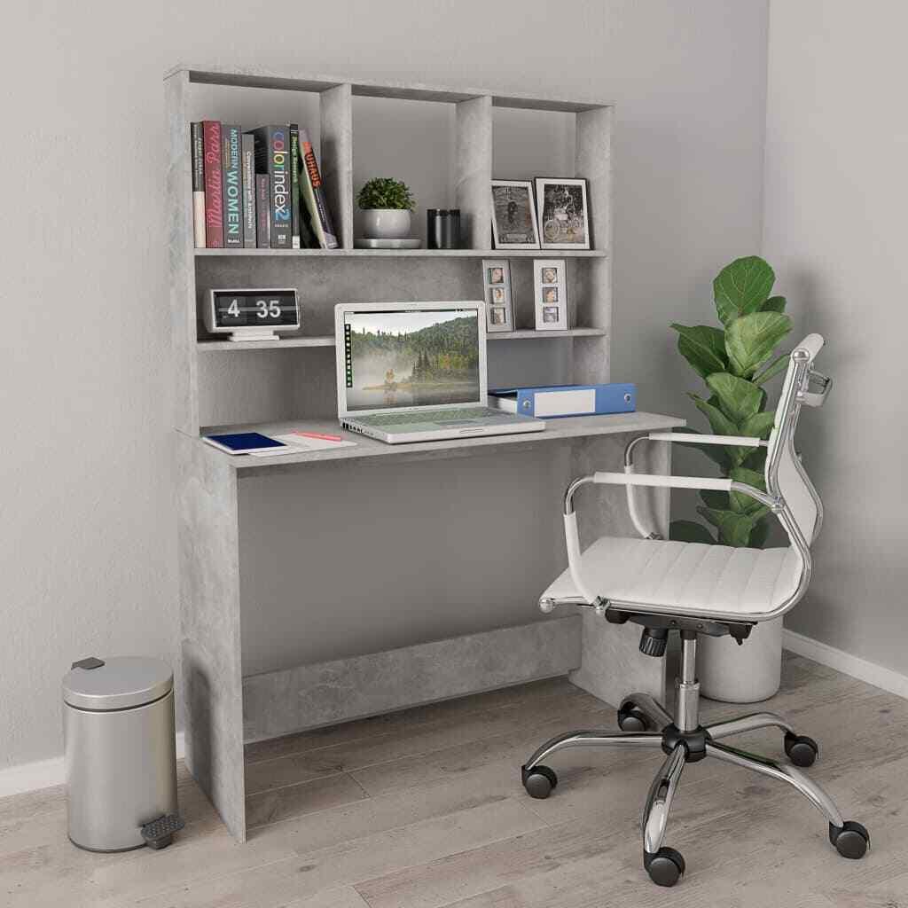 800395 vidaXL Schreibtisch mit Regalen Hochglanz-Grau 110×45×157cm Spanplatte