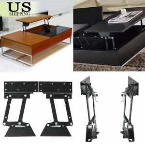 Pair 2x Lift Up Top Coffee Table Lifting Frame Mechanism Gas