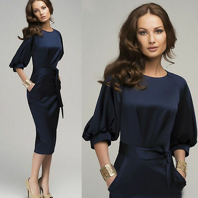 Elegant Womens Office Lady Formal Business Work Party Sheath Tunic Pencil Dress