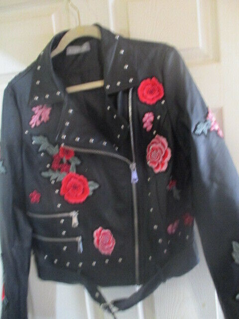 Bagatelle Womens Full Zip Studded Collared Floral Faux Leather Jacket Black L