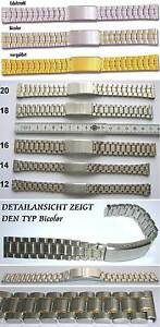 EDELSTAHLARMBAND-Wahl-Silberfarbig-Bicolor-Vergoldet-12-14-16-18-20-mm