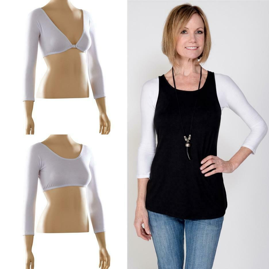 SLEEVEY WONDERS SHAPE-WEAR  BASIC 3 4  SLEEVES TOP  30104 WHITE Jersey NEW