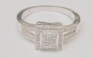 14K-White-Gold-0-34-1-3-TCW-Diamond-Square-Halo-Cluster-Ring-Size-7