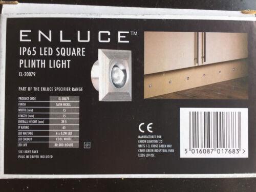 Enluce Set di 6 LED BIANCO QUADRATE IP65 plinto verande Luci Bagno Kit Completo