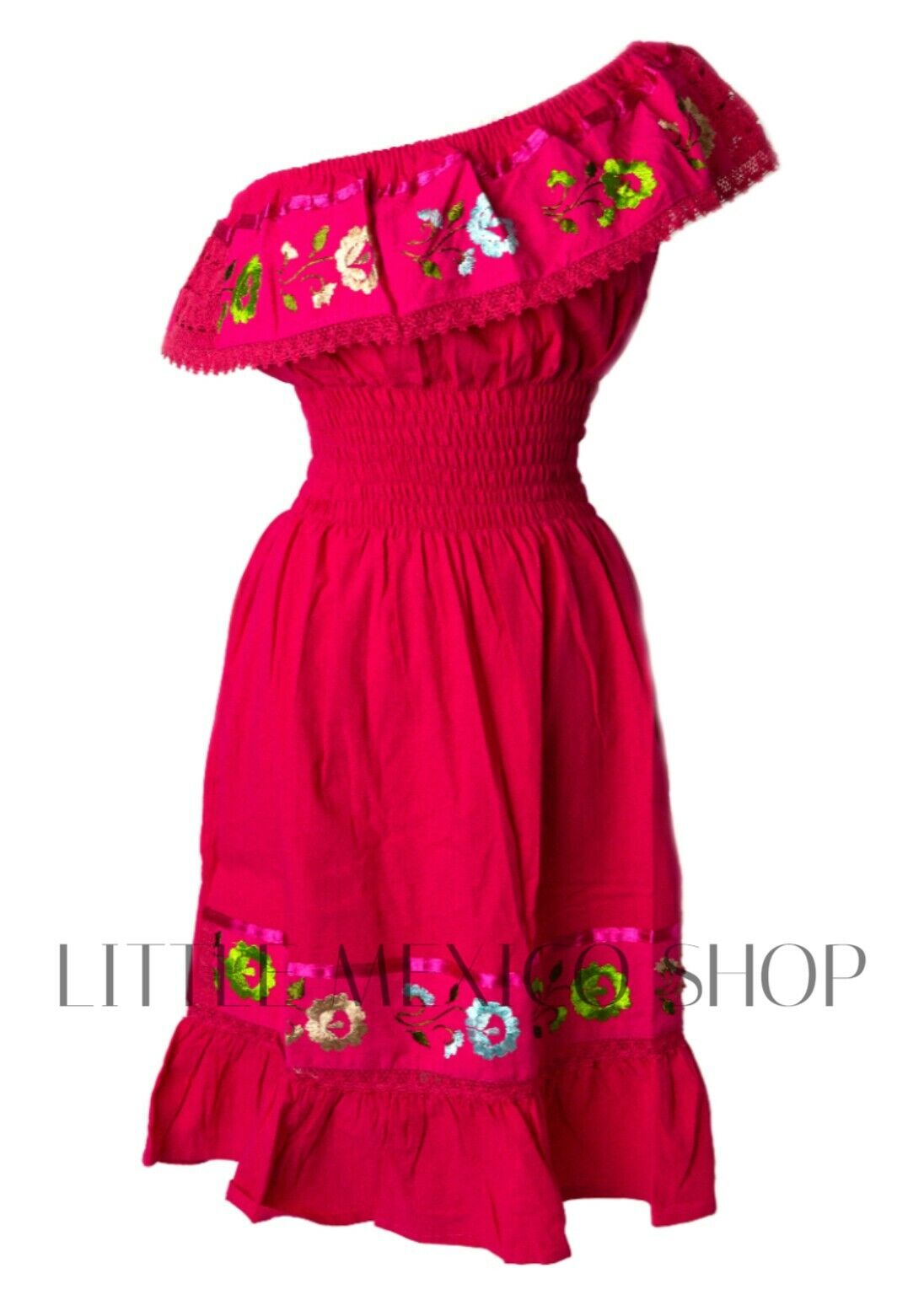 FUCHSIA Mexican Peasant ONE Shoulder Dress Fits Small-Large Embroiderot Floral