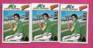 RARE-3-X-1977-OPC-144-OAKLAND-AS-MIKE-TORREZ-CARD-INV-C1996