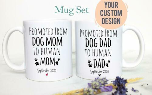 Promoted From Dog Mom And Dad To Human Mug Set #2 Dad To Be Gift New Dad Gift